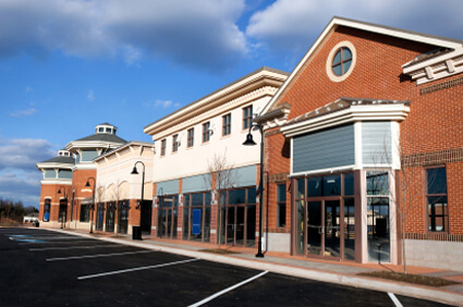 Retail or office space align a commercial parking lot